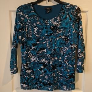 3/4 sleeve teal, white and black abstract blouse
